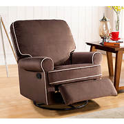 Abbyson Living Percy Fabric Swivel Glider Recliner - Coffee