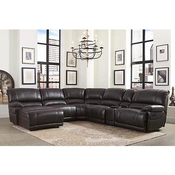 Abbyson Living Jameson 6 Pc Leather Sectional Dark Brown Bjs