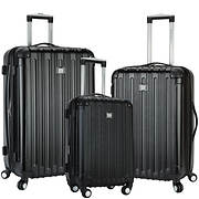 Travelers Club Madison 3-Pc. 2-in-1 Spinner Set - Black