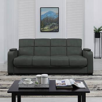 Handy Living Storage Arm Convert A Couch Microfiber Sleeper Sofa