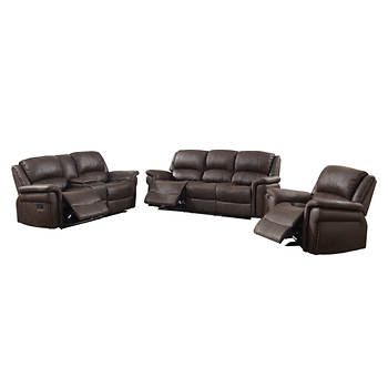 Hampton Point Bradford 3 Pc Reclining Sofa Set Warm Walnut Bjs Wholesale Club