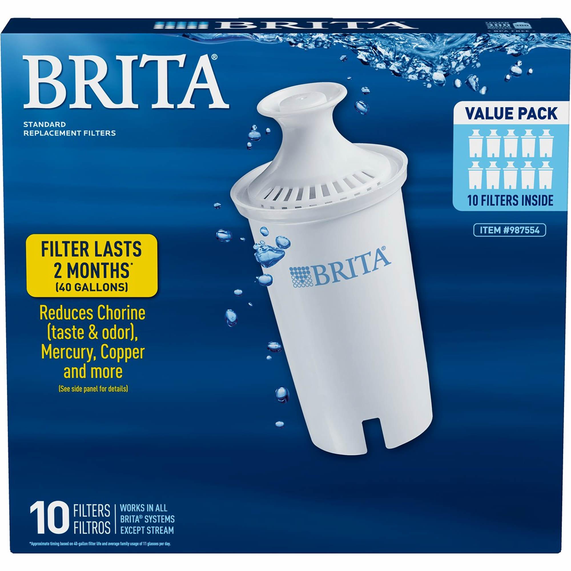 Brita Pour Through Pitcher Replacement Filter 10 Pk Bjs