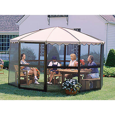 "Casita 12'3"" Round Screenhouse - Chestnut/Almond"