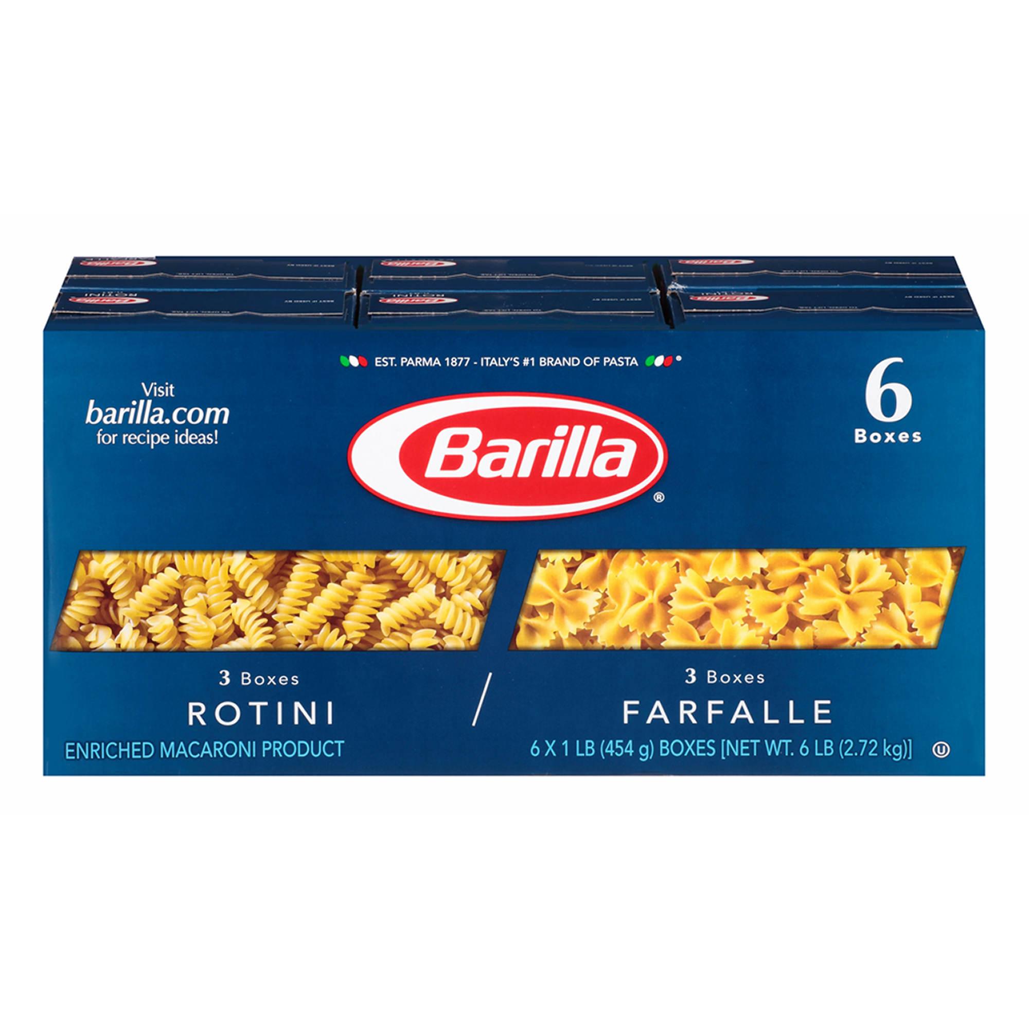 barilla rotini and farfalle pasta 16 oz 6 pk bj s whole club barilla rotini and farfalle pasta 16 oz 6 pk
