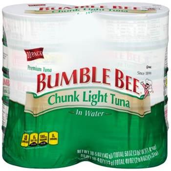 Ble Bee Chunk Light Tuna In Water 10 Pk 5 Oz