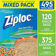 Ziploc Snack Bag and Sandwich Bag Mixed Pack, 495 pk. - Clear