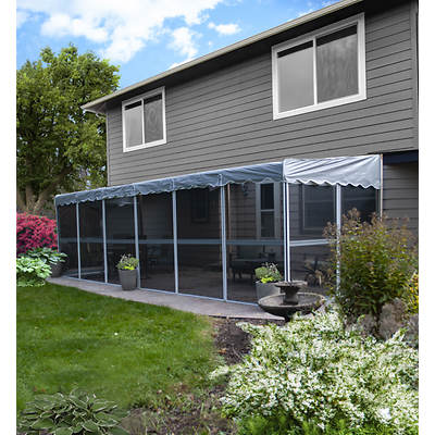 "Patio-Mate 25'6"" x 8'6"" Screened Enclosure - White/Gray"