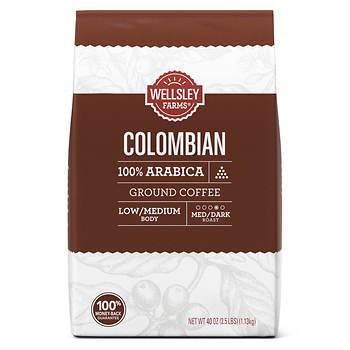 Wellsley Farms Colombian Ground Coffee, 40 oz.