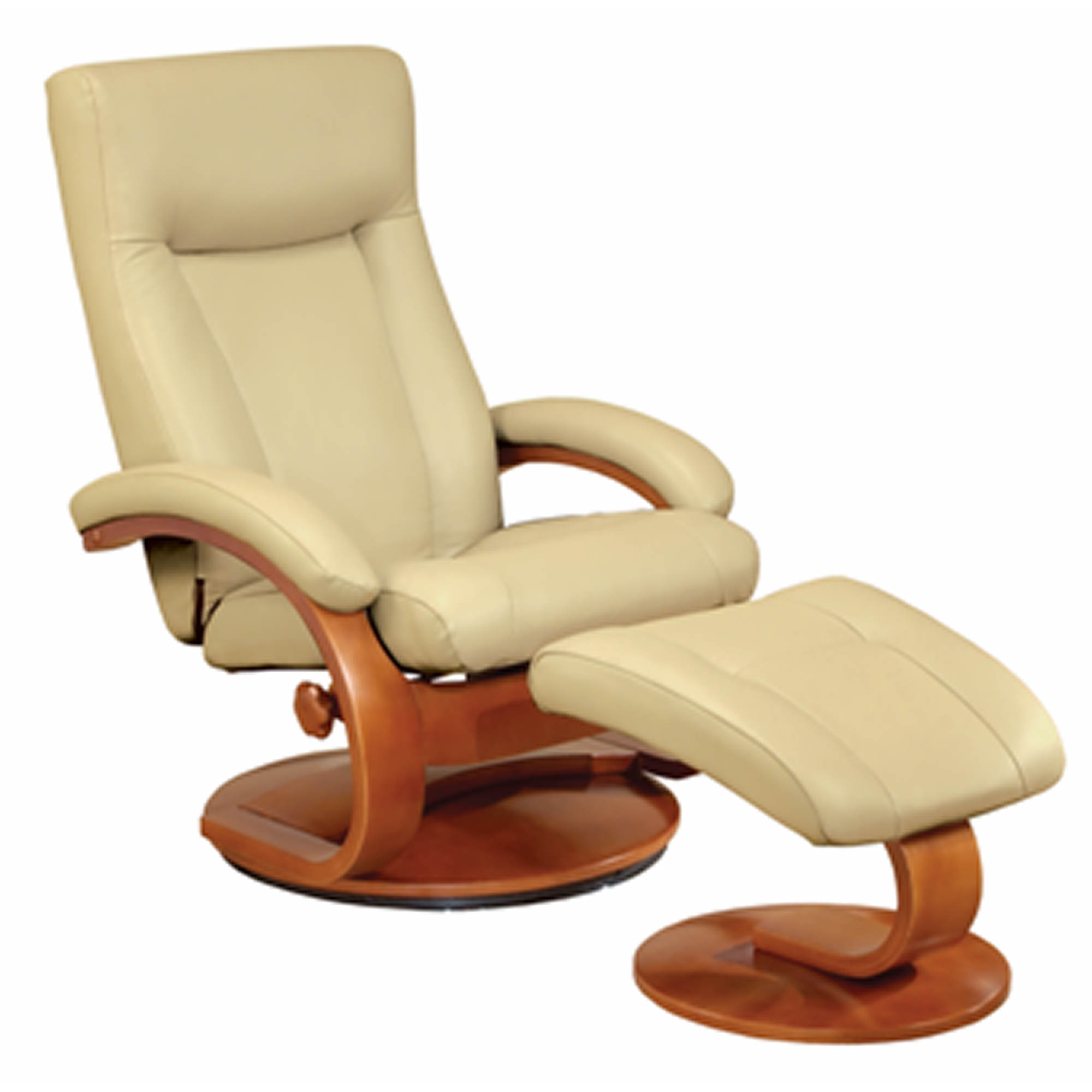 Oslo Collection Leather Swivel Recliner With Ottoman Bj