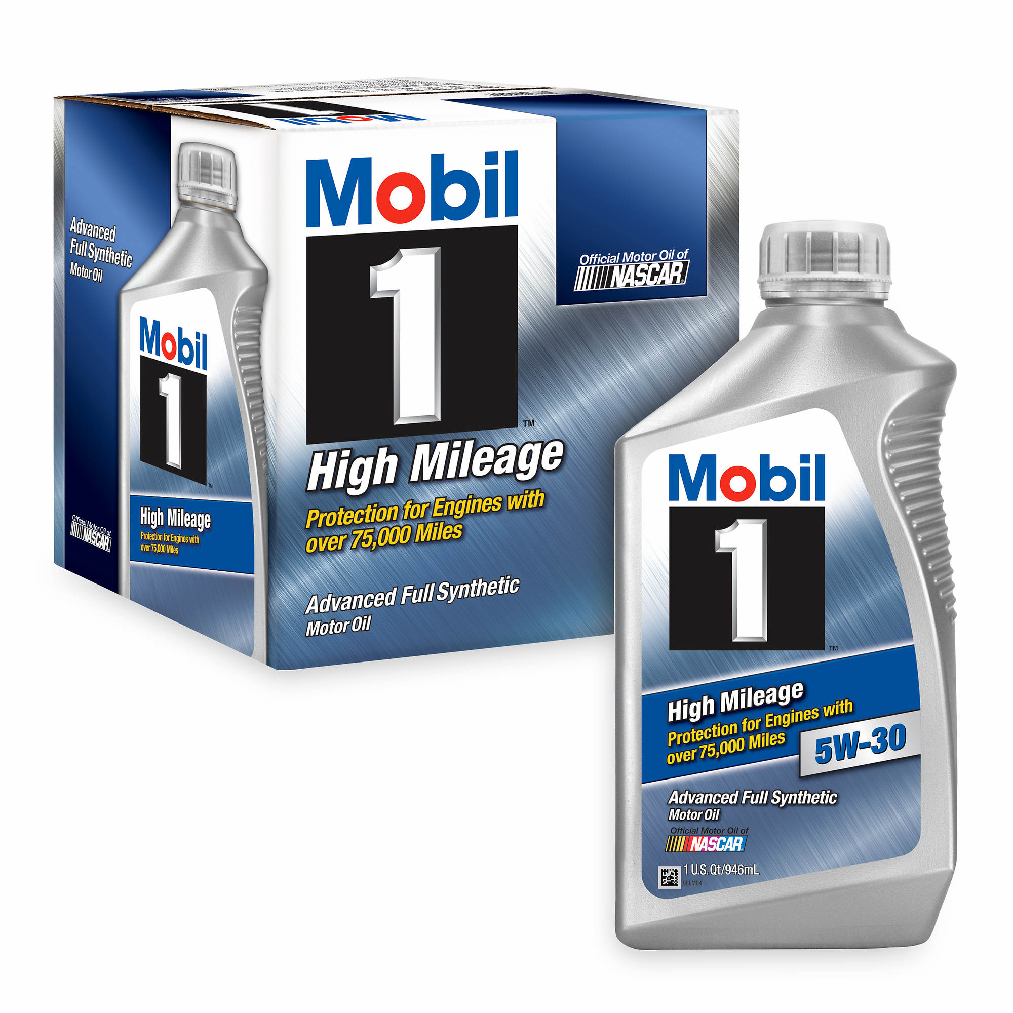 mobil 1 5w 30 high mileage synthetic motor oil 6 pk 1 qt. Black Bedroom Furniture Sets. Home Design Ideas