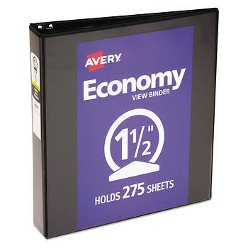 avery economy reference view binder 1 1 2 capacity black bjs