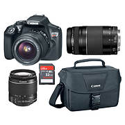 Canon Rebel T6 18MP DSLR Bundle with 15-55mm and 75-300mm Lenses, 32GB