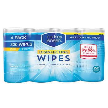 berkley jensen disinfecting wipes 4 pk 80 ct bjs wholesale club