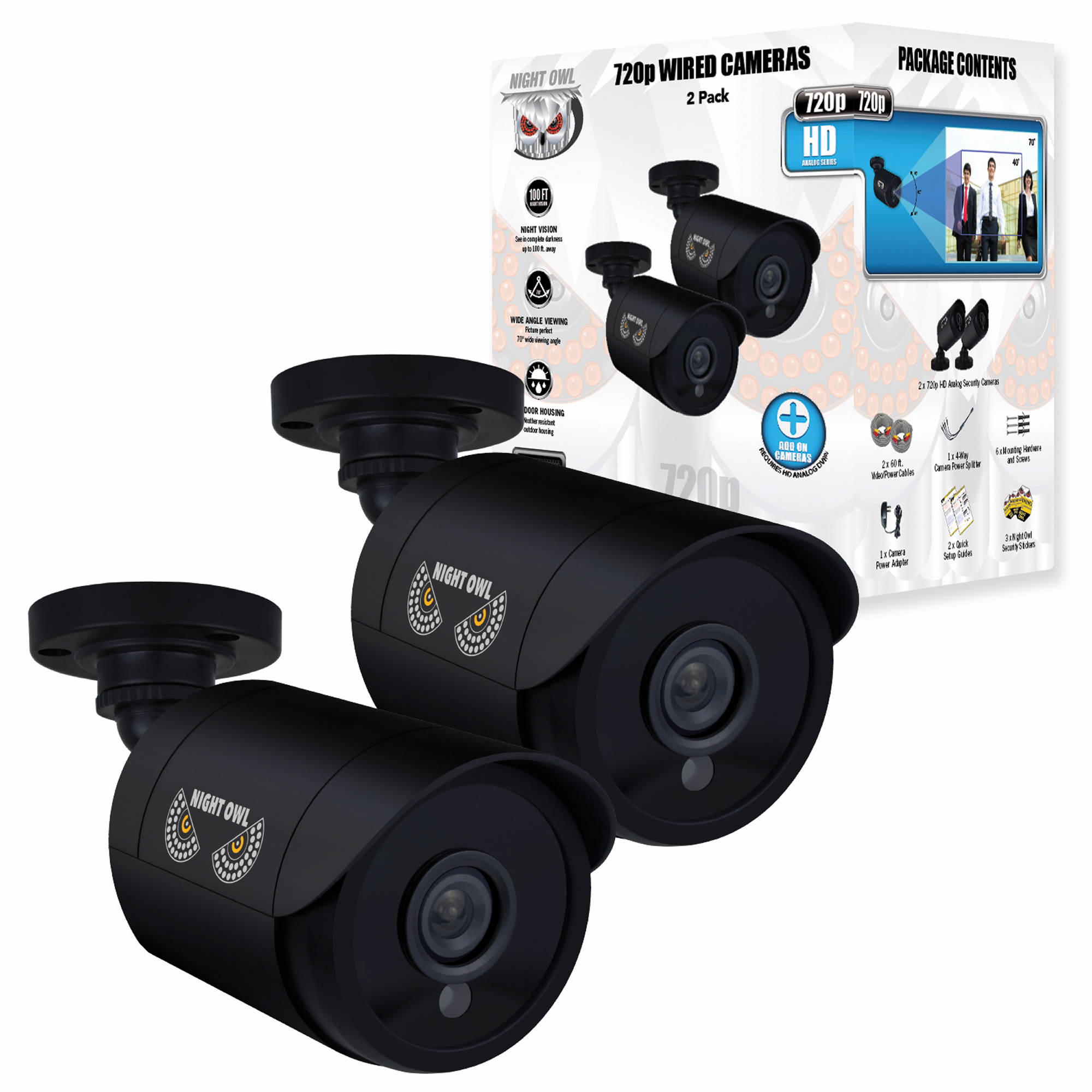 Night Owl 720p Analog Bullet Cameras 2 Pk Black Bjs Wholesale Club Q See Security Camera Wiring Diagram For 5 Undefined 6