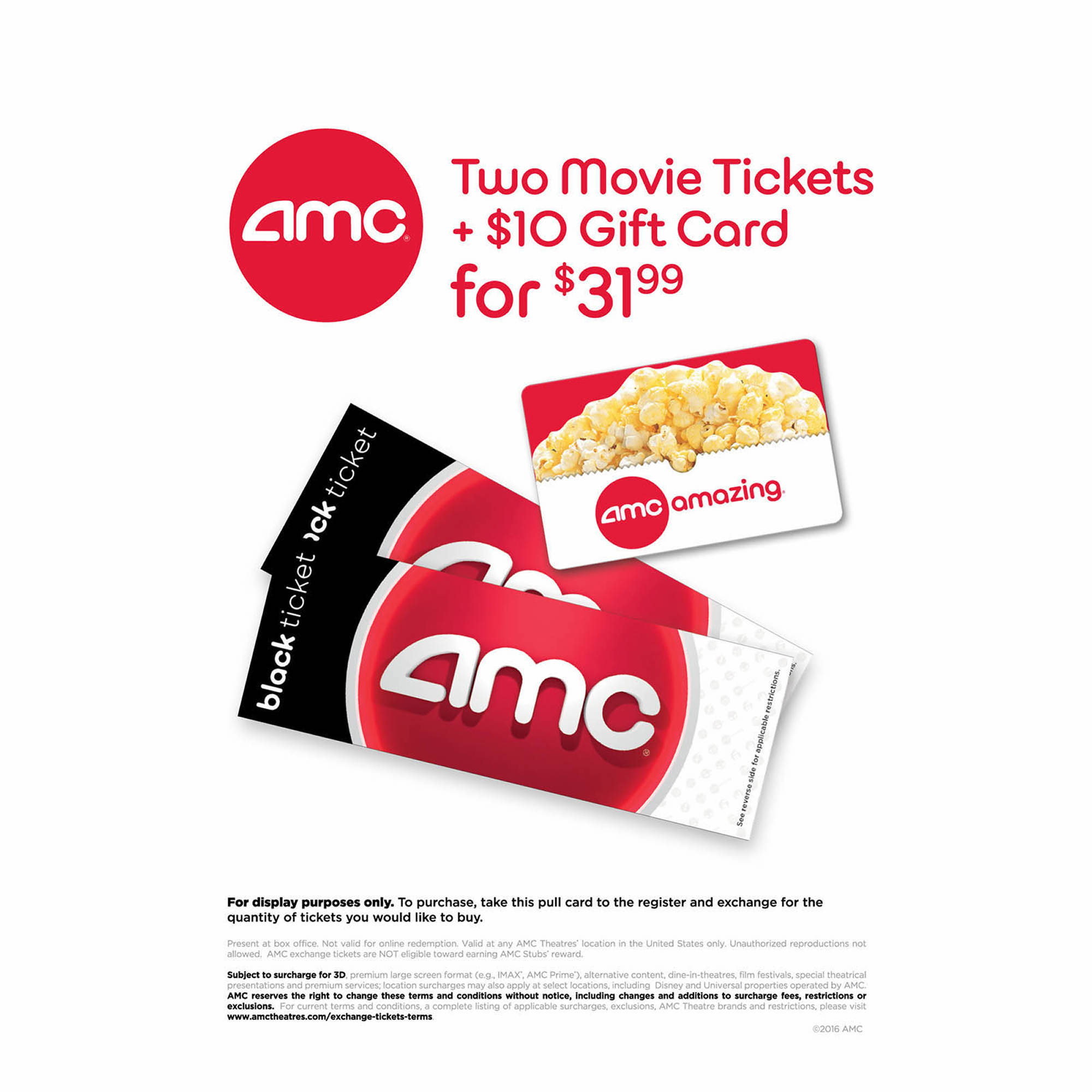 amc black movie ticket 2 pk with 10 concessions gift card bj 39 s wholesale club. Black Bedroom Furniture Sets. Home Design Ideas