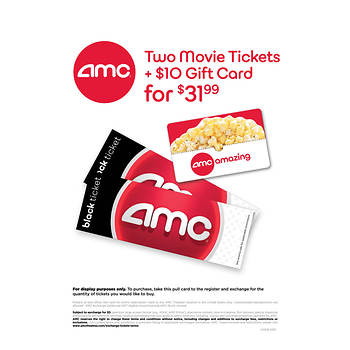 AMC Black Movie Ticket 2 Pk With 10 Concessions Gift Card