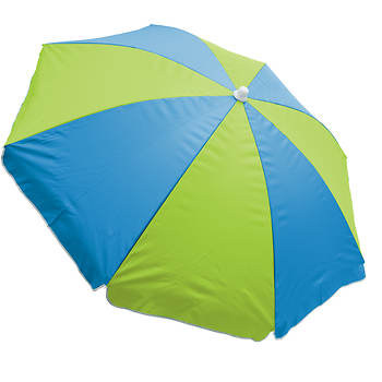 Rio 6 Beach Umbrella With Built In Sand Anchor Blue Green