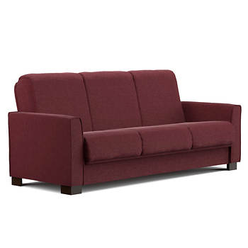 Handy Living Bryant Convert A Couch Sleeper Sofa Red Chenille