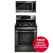 LG Single Oven Gas Range and Over-the-Range Microwave - Black Stainles
