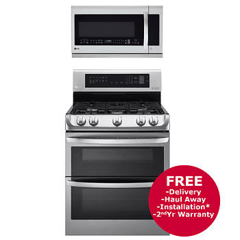 Lg Double Oven Gas Range And Over The Range Microwave