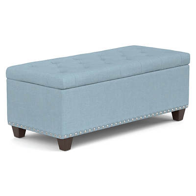 "Handy Living Tufted 48"" Wall Hugger Bench Storage Ottoman - Sky Blue L"