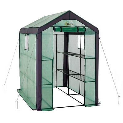 Ogrow Heavy-Duty Walk-in 2-Tier 8-Shelf Portable Lawn and Garden Green
