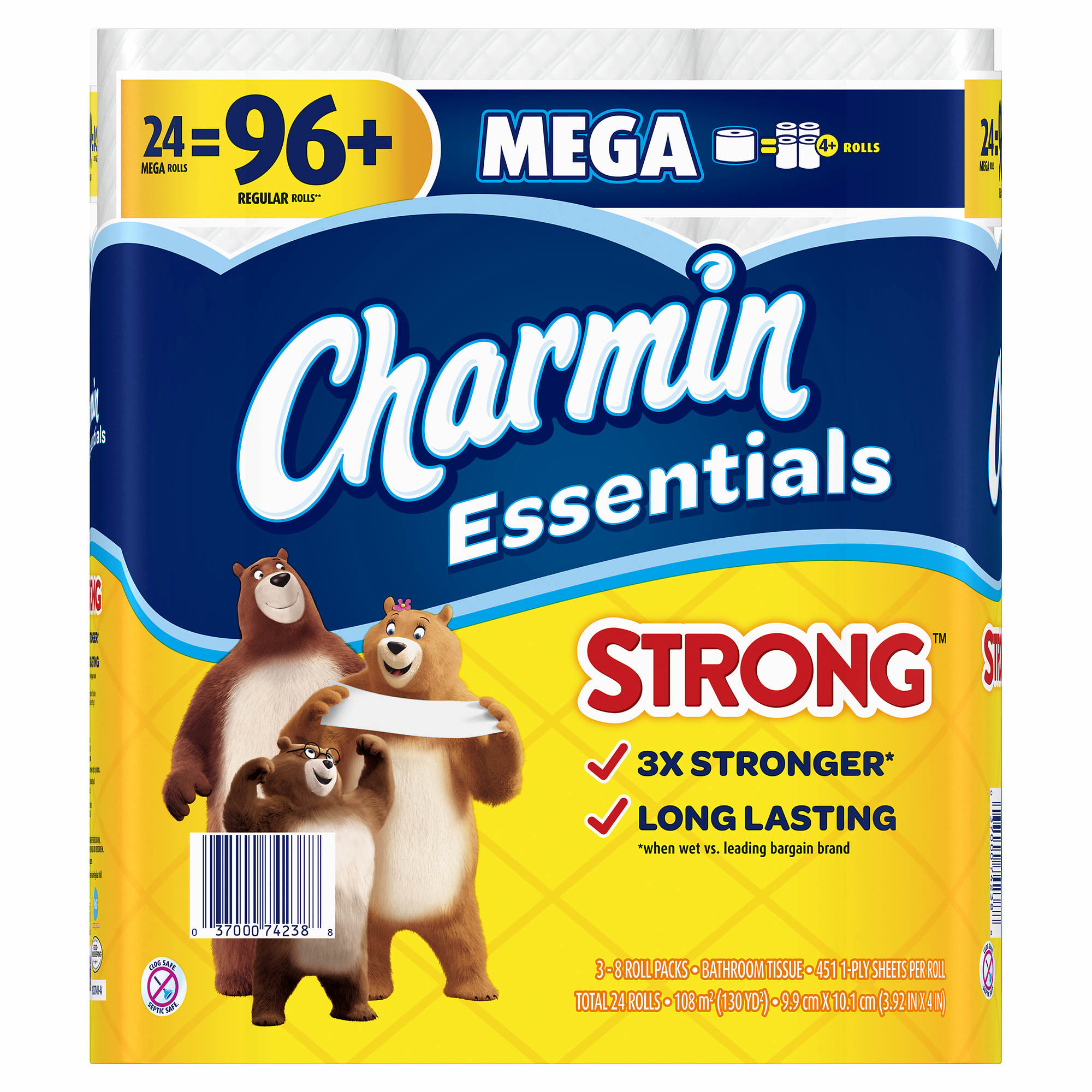 Charmin Essentials Strong 451-Sheet 1-Ply Toilet Paper, 24 ...