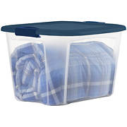 Bella Storage Solution 30-Gal. Tote with Locking Lid - Clear/Blue