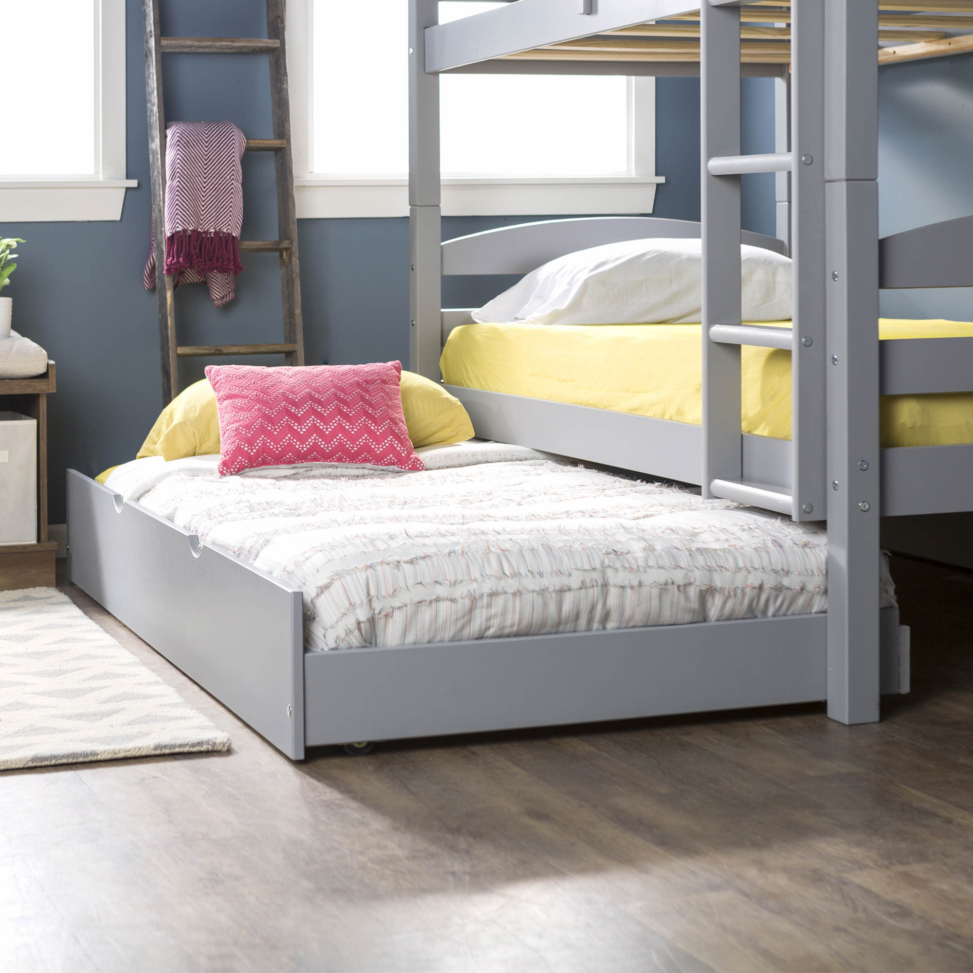W Trends Twin Size Solid Wood Trundle Bed Gray Bjs